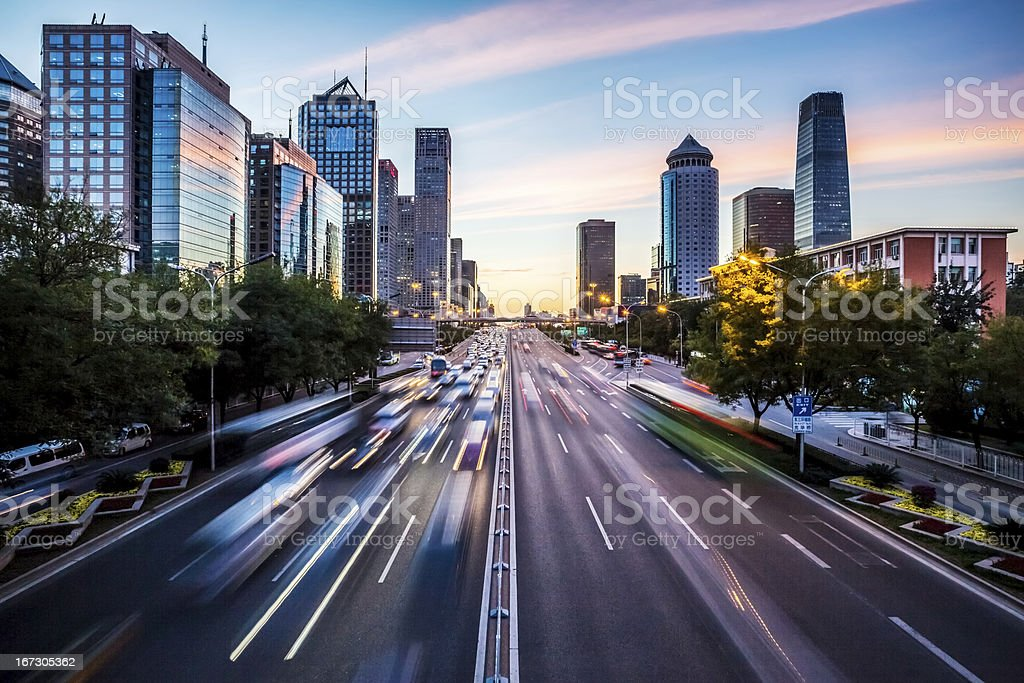 Futuristic city at dusk stock photo