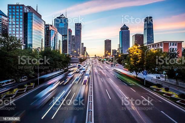 Photo of Futuristic city at dusk