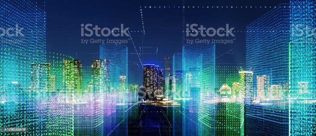 Futuristic city concept. Futuristic city concept. 5G Stock Photo