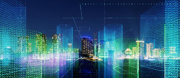 istock Futuristic city concept. 1129543876