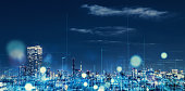 istock Futuristic city concept. 1129543911