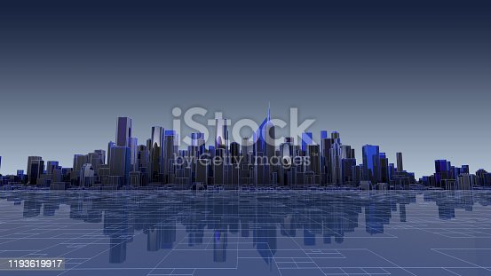 1129543876 istock photo Futuristic city concept stock photo 1193619917