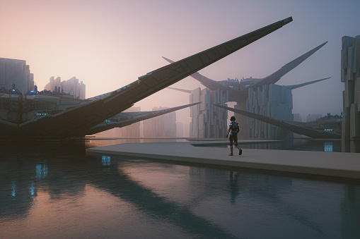 Futuristic city floating on water. This is entirely 3D generated image.