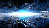Computer city scene in the next. New micro processor space colony on the other world. Futuristic scene.