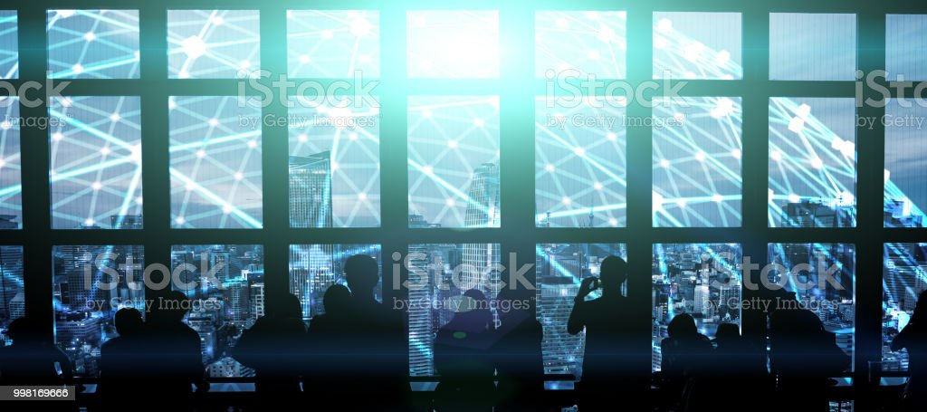 futuristic city in tokyo electromagnetic signals stock photo