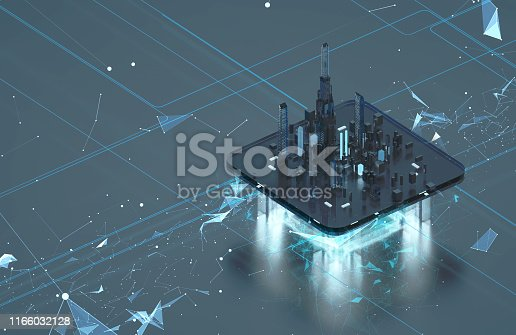 Futuristic city on a dark background. Future city neon light. 3d model of the hologram of the city. Data streams Blockchain