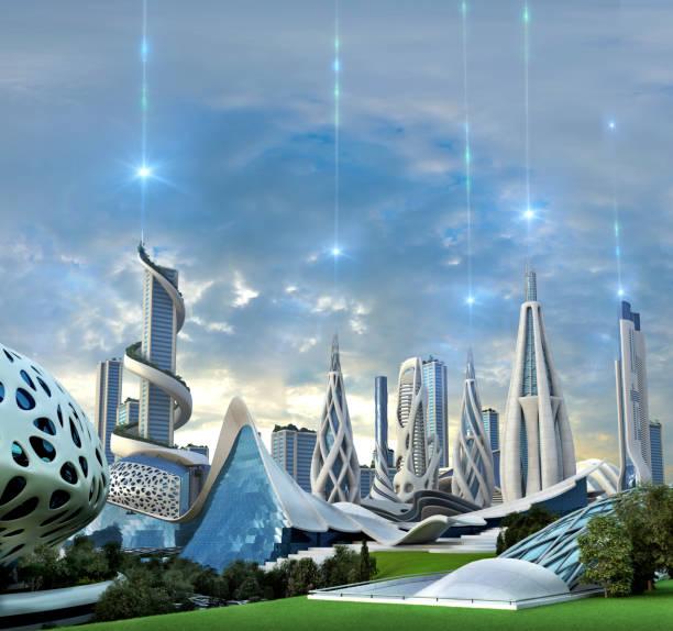 エキゾチックなエネルギー源によって供給未来都市 - 未来都市 ストックフォトと画像