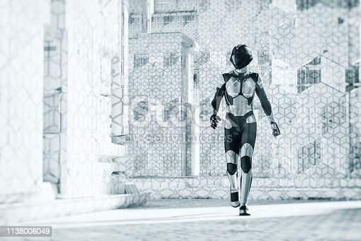 Futuristic city street with walking cyborg. 3D generated image.