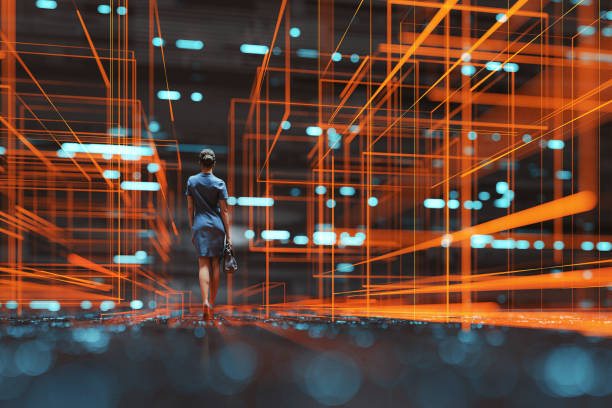 Futuristic city VR wire frame with businesswoman walking stock photo