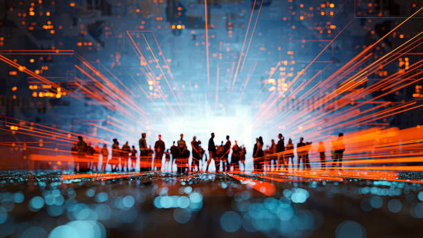 Futuristic city VR wire frame with group of people stock photo