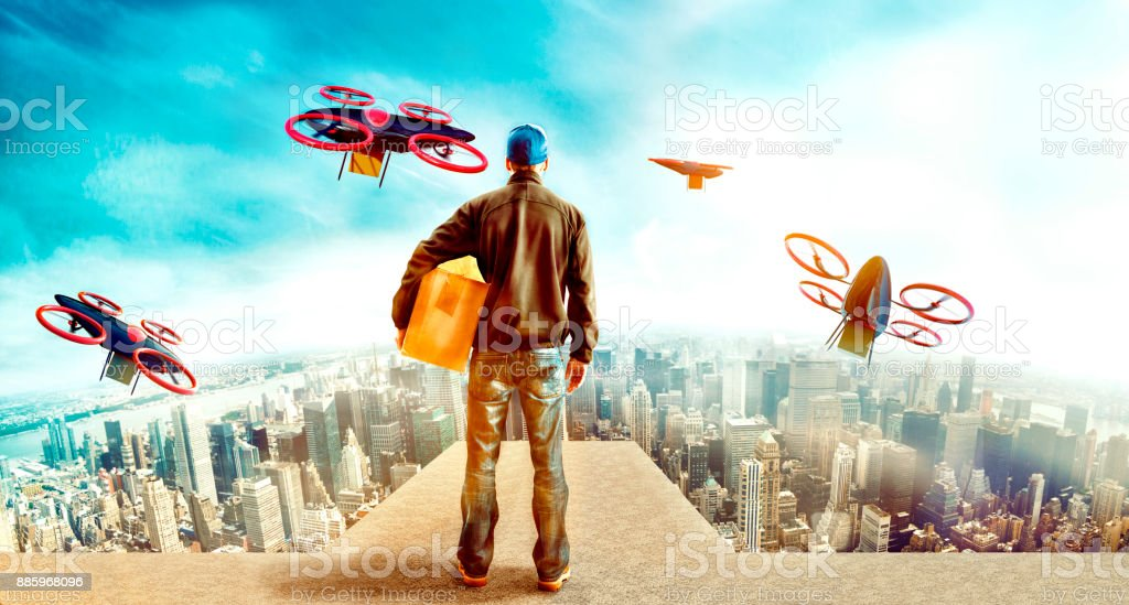 Futuristic City With Delivery Person Sending Off Drones With