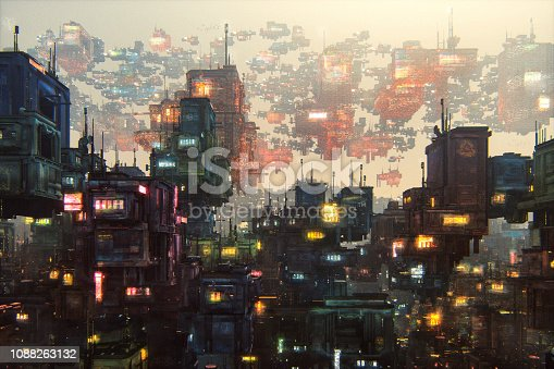 Futuristic city with large amount of buildings. This is entirely 3D generated image with paint over.