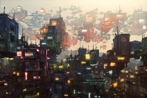 Futuristische Stadt mit großen Menge von Gebäuden – Foto
