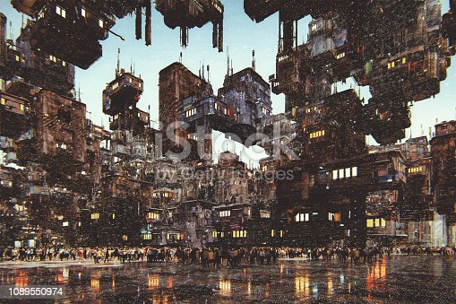 Futuristic city with large amount of buildings. This is entirely 3D generated image.