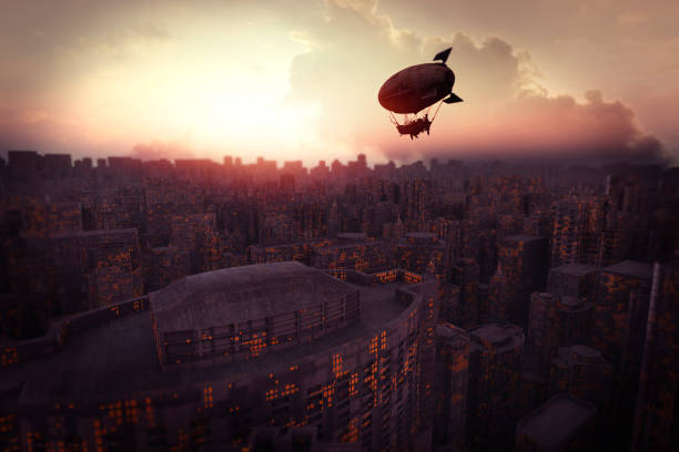 futuristic cityscape at sunset with steampunk airship - steampunk stock photos and pictures