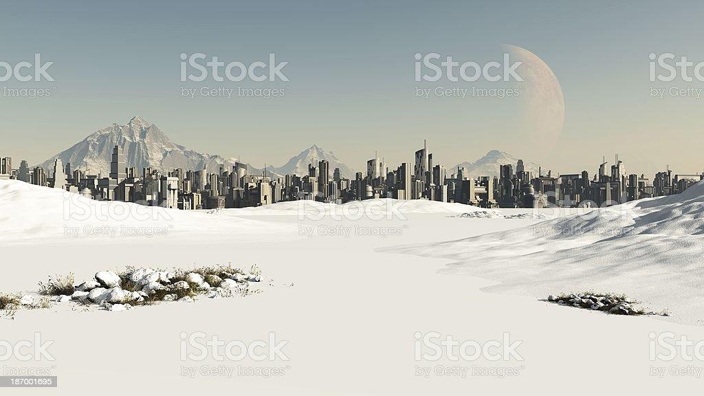 Futuristic Cityscape in Winter Snow stock photo