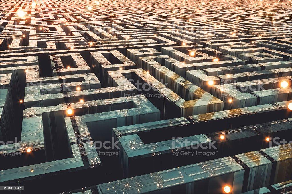 Futuristic cityscape maze stock photo