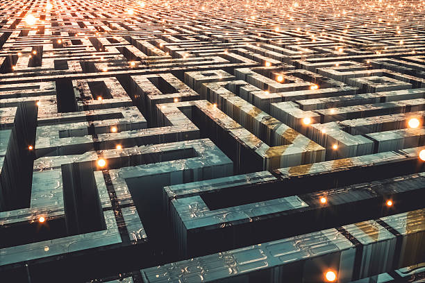 futuristic cityscape maze - maze stock photos and pictures