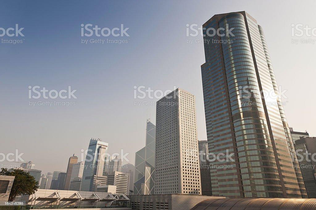 Futuristic cityscape skyscrapers gleaming Hong Kong China stock photo