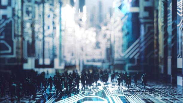 人と未来的な都市の景観 ストックフォト