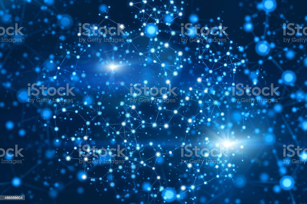 Futuristic computer network of atom nodes and connections, blue background stock photo