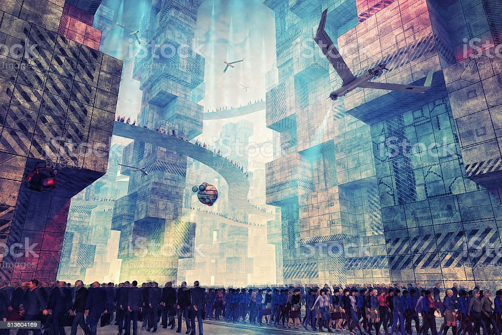 Futuristic concept of controlled and uniform urban areas stock photo