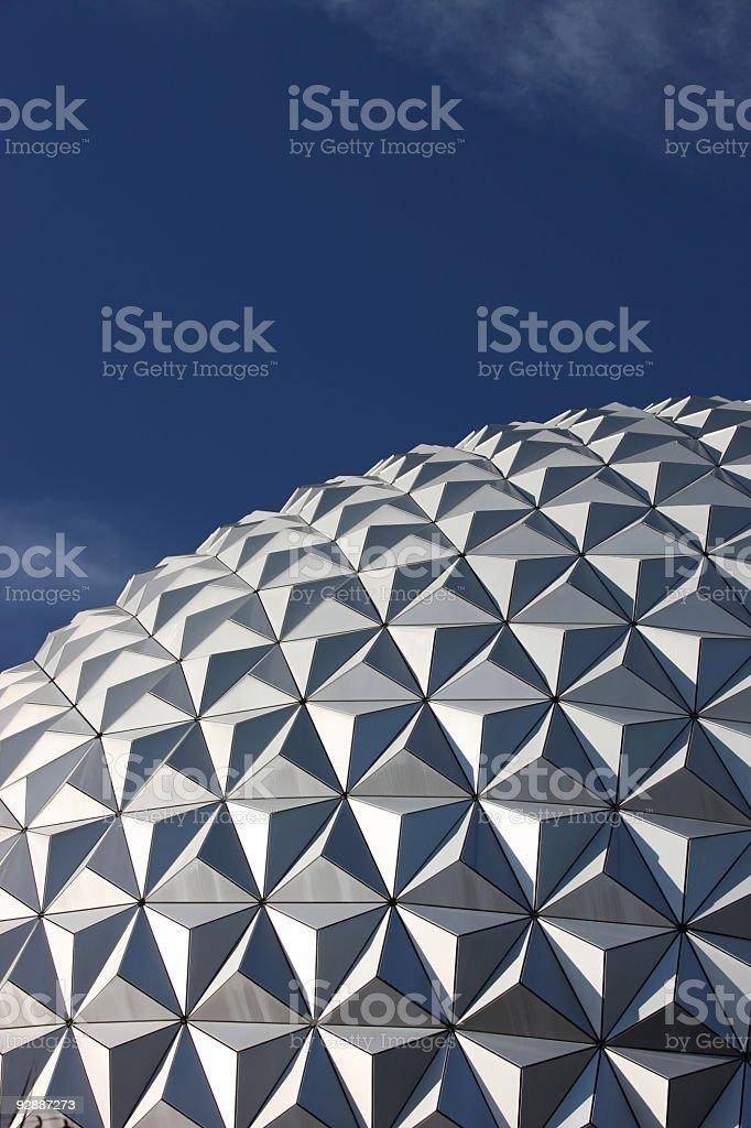 Futuristic construction. Geodesic Dome. stock photo
