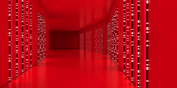 futuristic corridor glowing with red and white led light - vr red background imagens e fotografias de stock