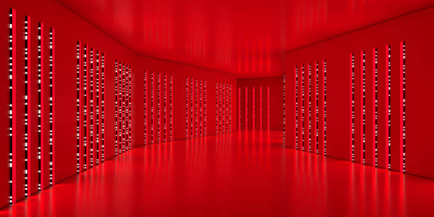 futuristic corridor glowing with red light and binary leds - vr red background imagens e fotografias de stock