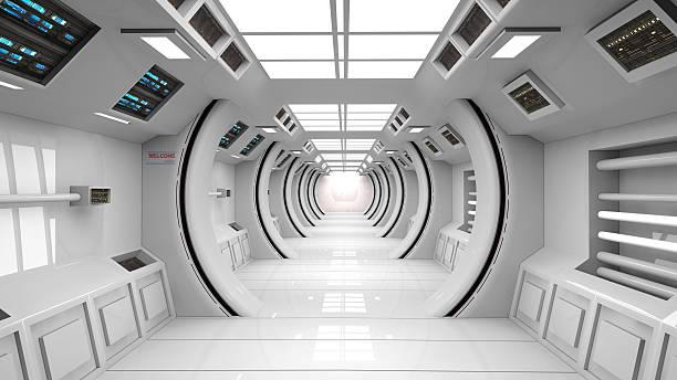 futuristic corridor scifi - ruimtevaart voertuig stockfoto's en -beelden