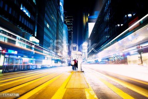 istock Futuristic crossroad at night 117147748