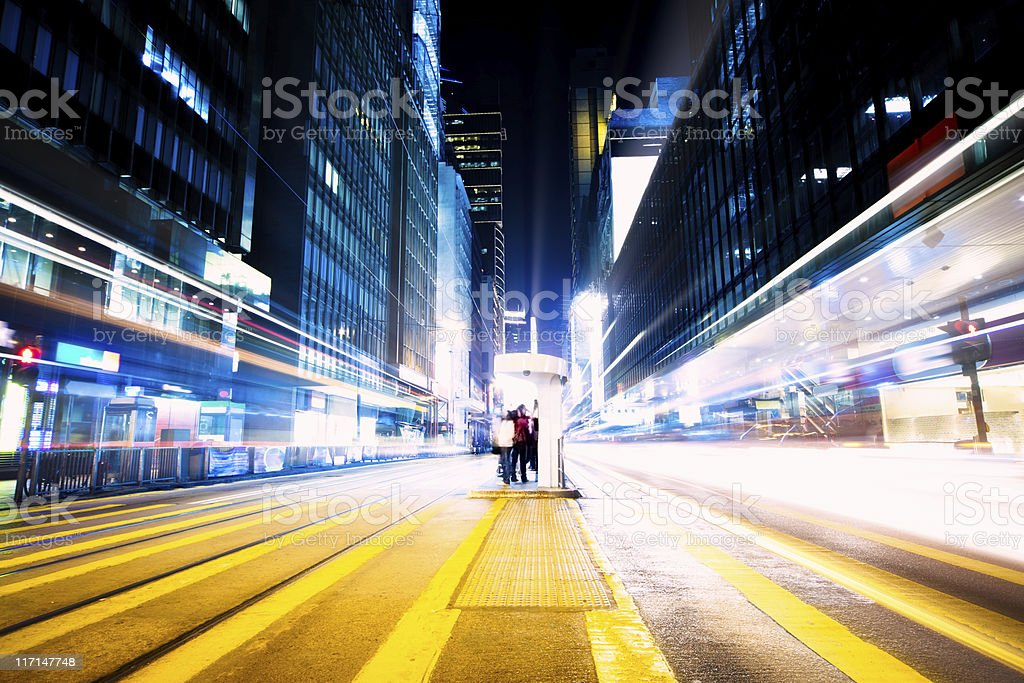 Futuristic crossroad at night stock photo