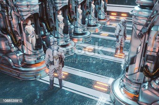 Futuristic cyborg cryo pods.