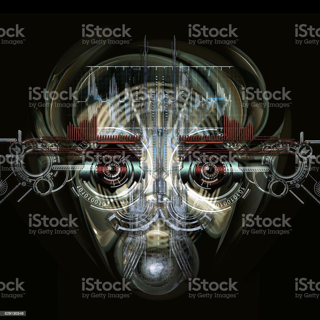 Futuristische Cyborg Gesicht, 3D-illustration – Foto
