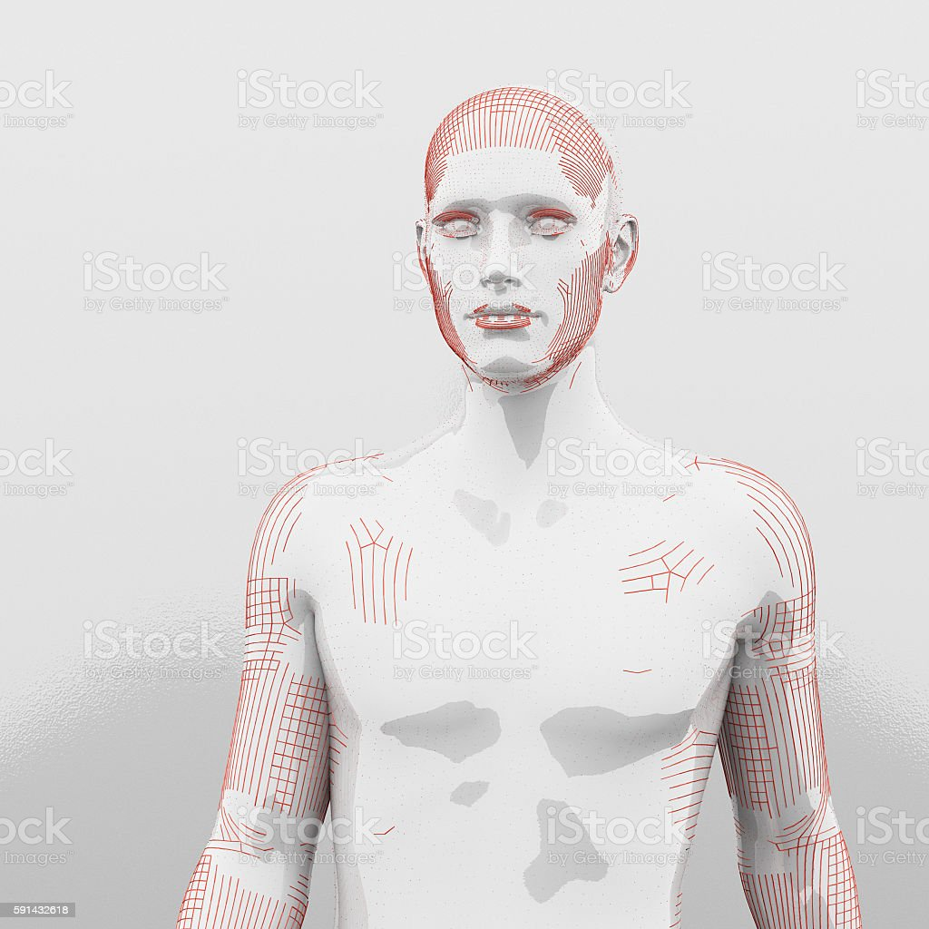 Futuristic cyborg human stock photo