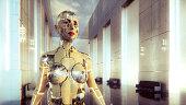 Futuristic cyborg in empty modern office lobby