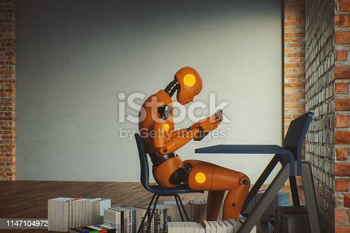 Futuristic cyborg learning about humans. This is entirely 3D generated. All book covers are fictional and made by contributor.