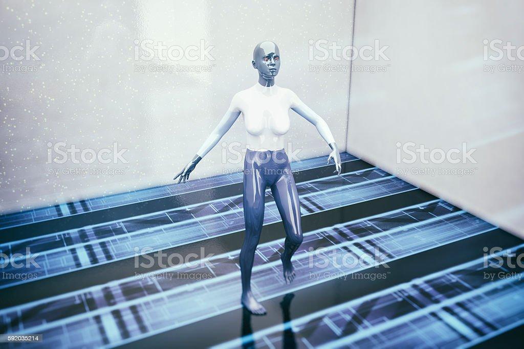 Futuristic cyborg learning to walk stock photo