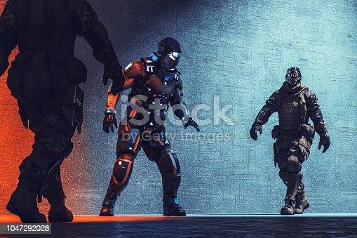 Futuristic cyborg soldiers arresting cyborg mercenary.