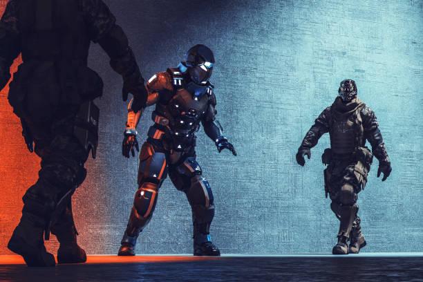 Futuristic cyborg soldiers arresting cyborg mercenary picture id1047292028?b=1&k=6&m=1047292028&s=612x612&w=0&h=5rk60r8gwihdgotwjub2xfnzfgiqxg9odss68goec0s=