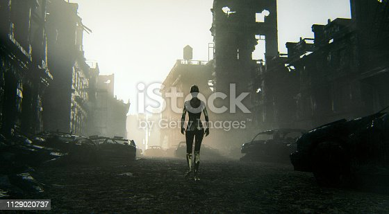 Futuristic cyborg walking in destroyed city.
