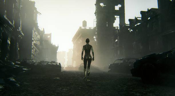 Futuristische Cyborg zu Fuß in die zerstörte Stadt – Foto