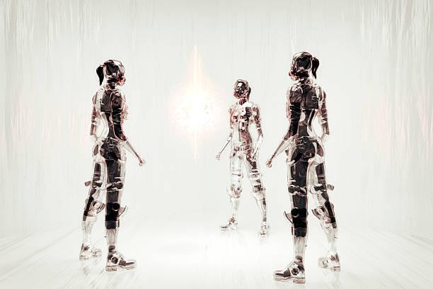 futuristische cyborg krieger kommunikation - gedanken lesen stock-fotos und bilder
