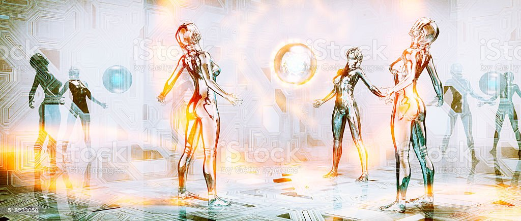 Futuristic cyborg warriors communicating stock photo