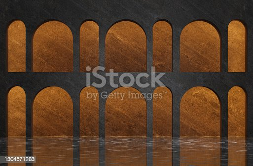 Futuristic dark empty interior with stone walls and large arches. 3d illustration