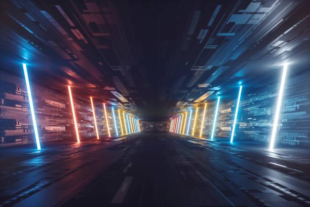 Futuristische dunkel glühenden Korridor – Foto