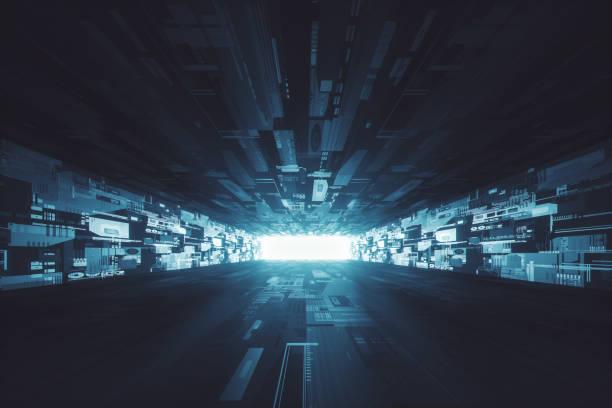 couloir lumineux sombre futuriste - vaisseau spatial photos et images de collection
