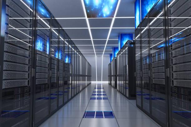 corredor futurista centro de datos - fila arreglo fotografías e imágenes de stock