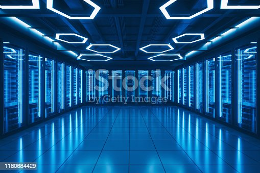Interior of a futuristic server room.