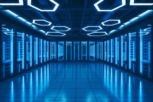 futuristic data center server room - mainframe stock pictures, royalty-free photos & images